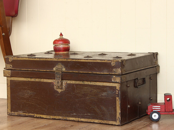 View our  Vintage Brown Metal Travel Trunk (C) from the   collection