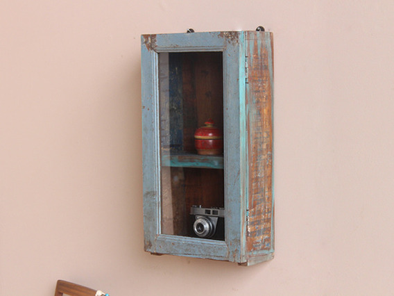 View our  Vintage Display Distressed Blue Cabinet from the  Vintage Cabinets & Cupboards collection