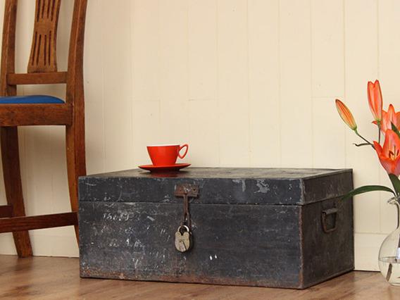 Vintage Distressed Metal Suitcase