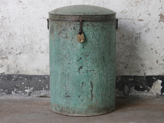 View our  Vintage Green Metal Storage Drum from the  Old Travel Trunks collection