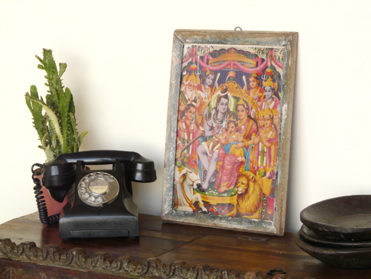 View our  Vintage Indian Print from the  Vintage Wooden Pots collection