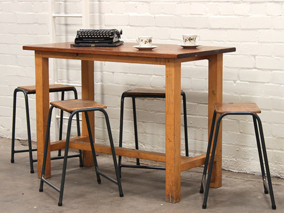 View our  Vintage Iroko School Lab Table Desk from the   collection