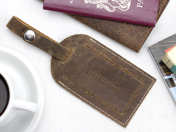 View our  Vintage Leather Luggage Tag from the  Travel Accessories collection