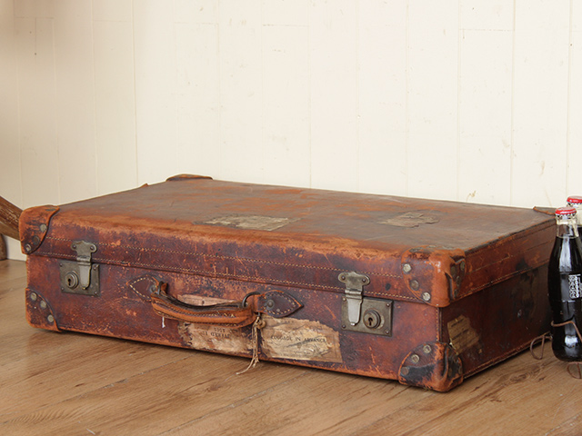 Vintage Leather Travel Suitcase