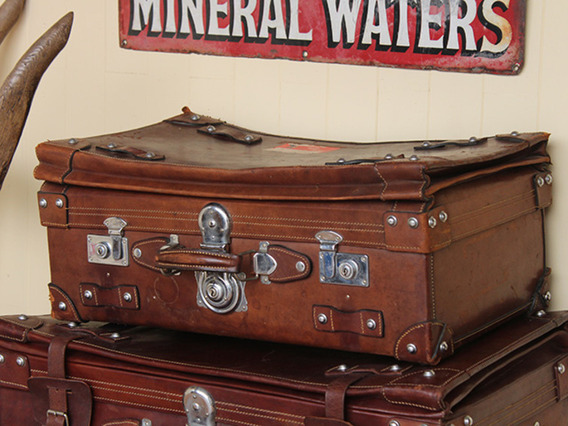 Vintage Leather Travel Suitcase - Small (C)