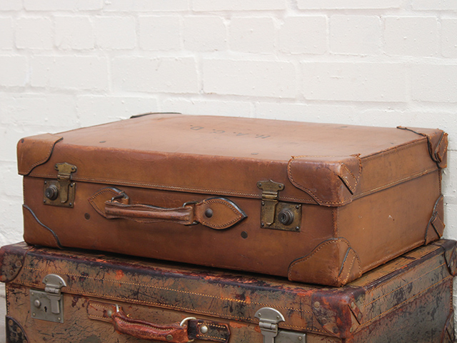 View our  Vintage Leather Travel Suitcase by Baker and Co from the   collection