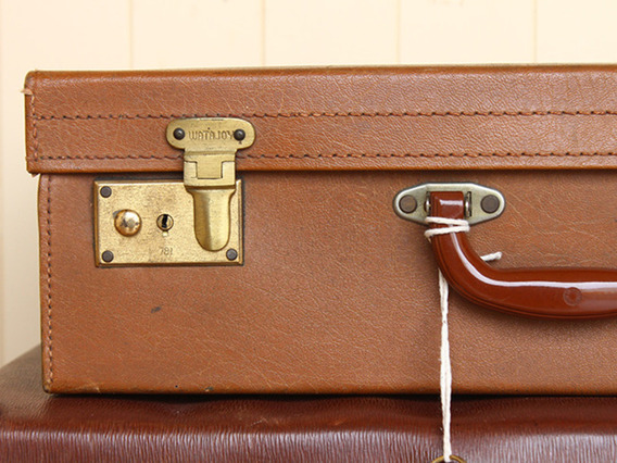 Vintage Light Tan Suitcase by Watajoy (C)