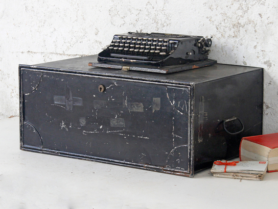 View our  Vintage Metal Deed Box from the  Old Travel Trunks collection