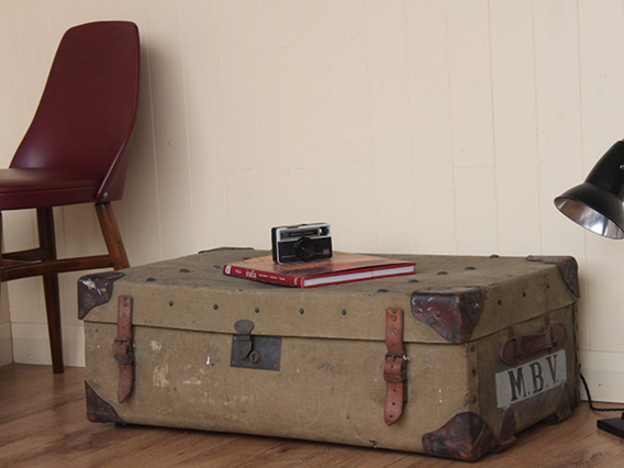 Vintage Military Canvas Trunk