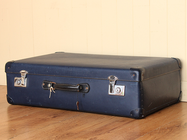 Vintage Navy Blue Suitcase by Globe Trotter - Sold - Scaramanga
