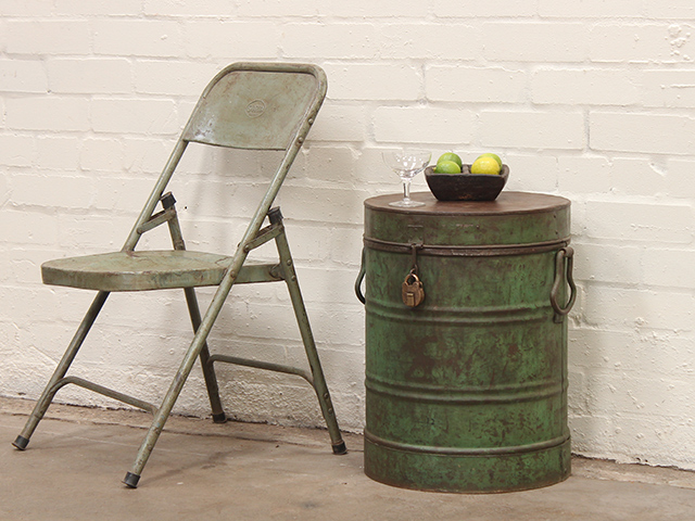 View our  Vintage Small Side Table/Storage Drum  from the   collection
