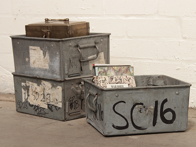 View our  Vintage Stackable Industrial Metal Tote Boxes (set of 3) from the  Old Travel Trunks collection