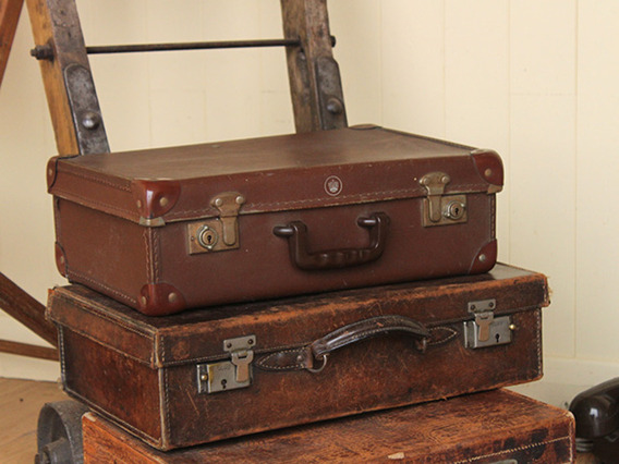 View our  Vintage Tan Brown Suitcase (C) from the   collection