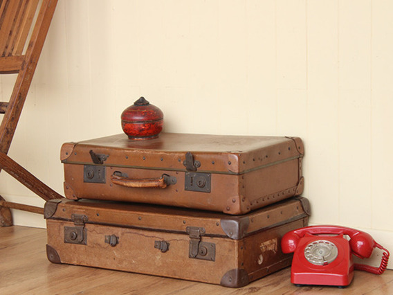 View our  Vintage Tan Suitcase (C) from the   collection