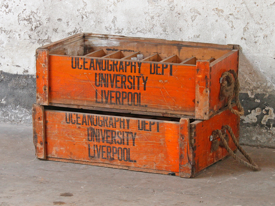 Vintage University Display Crate and Bottles