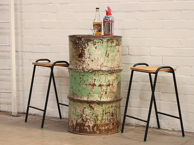 View our  Vintage Upcycled Metal Table and Storage Drum from the   collection