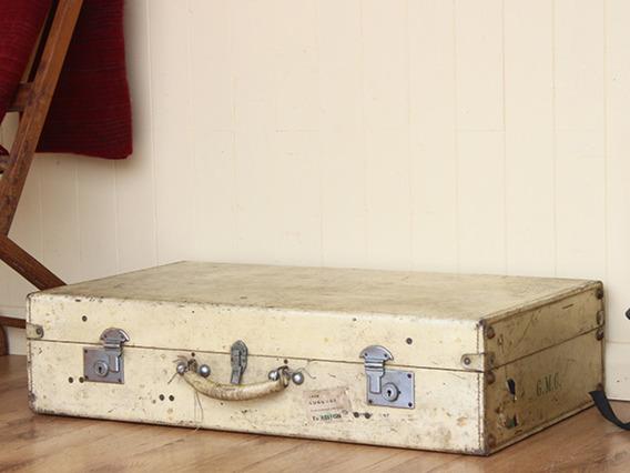Vintage Vellum Leather Suitcase (c)