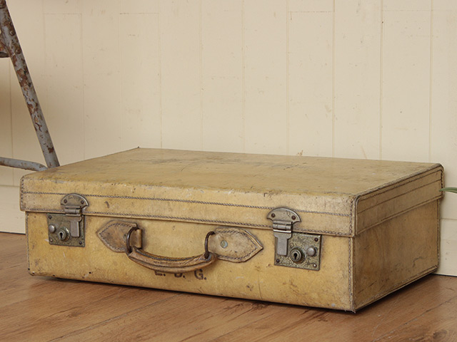 Vintage White Vellum Leather Suitcase