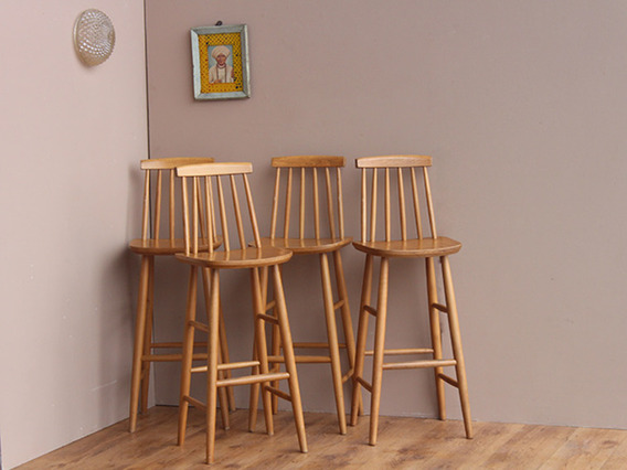 Wooden Ercol-Style High stools - set of 4 (D)