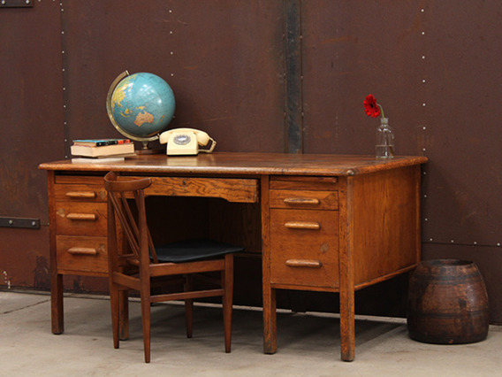 View our  Wooden Oak Vintage Office Desk from the   collection