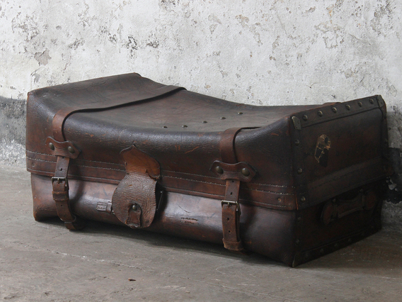 View our  Antique Leather Trunk from the  Old Travel Trunks collection