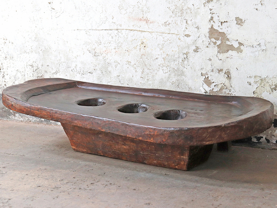 Antique Naga Wooden Grinding Table
