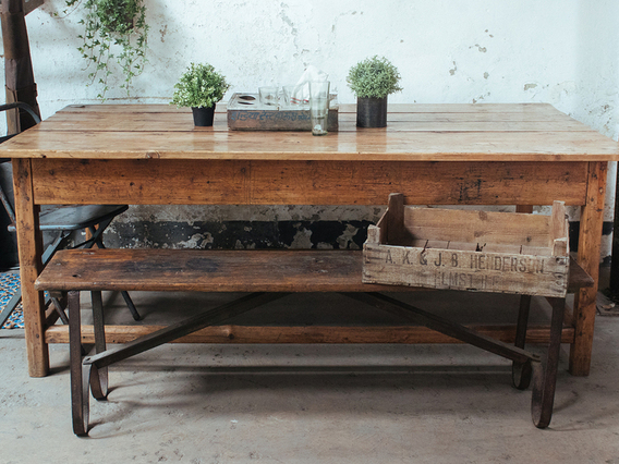View our  Antique Rustic Pine Farmhouse Table from the  Kitchen  collection