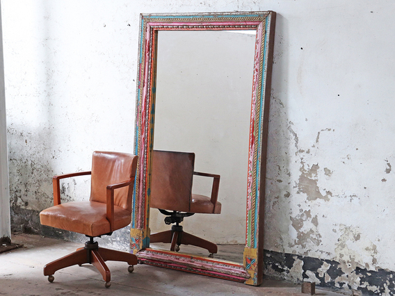 View our  Large Colourful Antique Wooden Mirror from the   collection