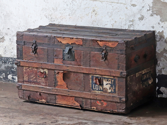 View our  Vintage Wood and Leather Trunk from the  Hallway collection