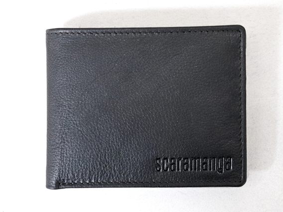 Black Leather Wallet with Coin Pocket