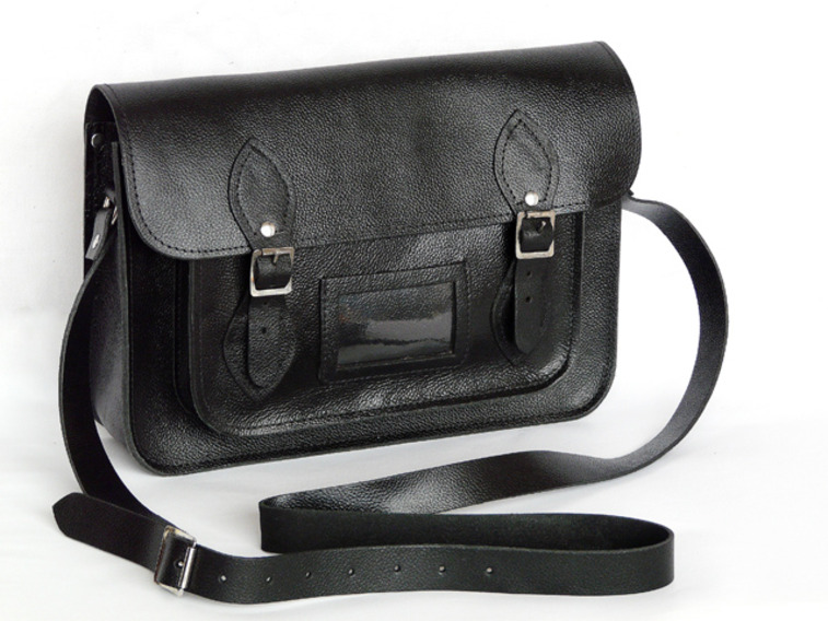 Classic Black Leather Satchel 13 Inch