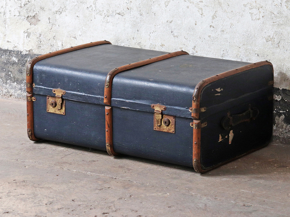 View our  Vintage Steamer Trunk Table from the  Old Travel Trunks collection