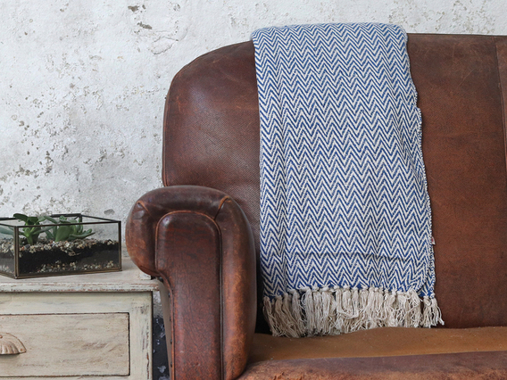 View our  Blue Geometric Cotton Herringbone Throw from the  Sold collection