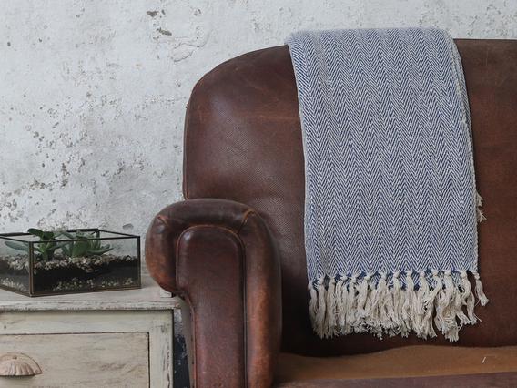 Blue Herringbone Weave Cotton Throw