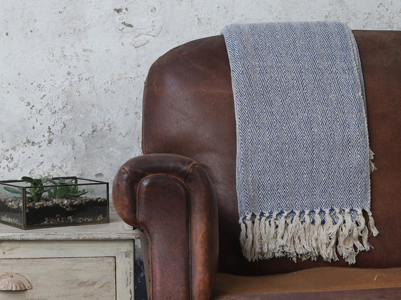 View our  Blue Herringbone Weave Cotton Throw from the  Soft Furnishings collection