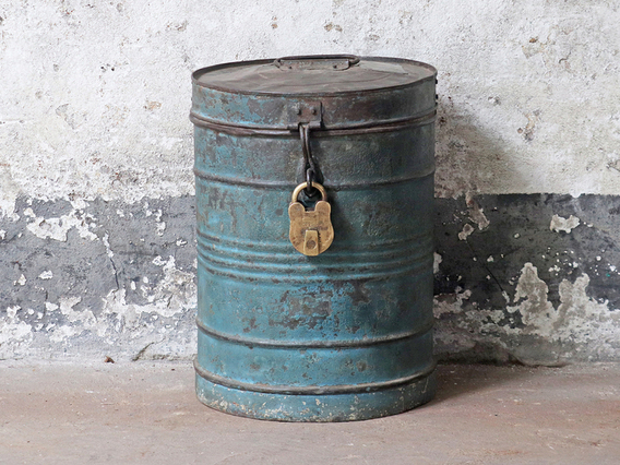 Blue Metal Storage Drum