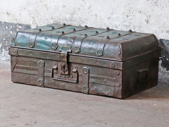View our  Blue Metal Travel Trunk from the  Furniture and Interiors collection