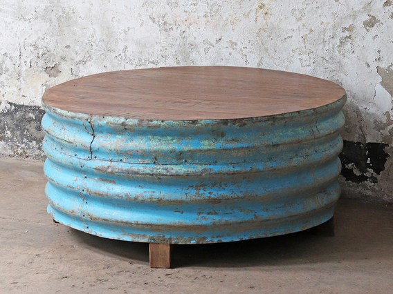 Metal Upcycled Coffee Table - Blue