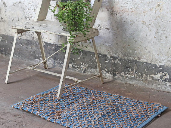 View our  Blue Tile Design Cotton Rug from the   collection