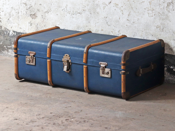 View our  Blue Vintage Travel Trunk from the  Sold collection
