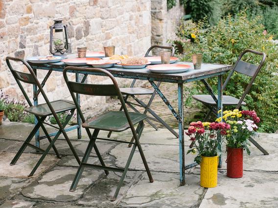 Vintage Folding Table - Blue