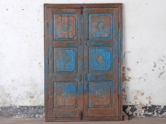Antique Blue Wooden Double Doors