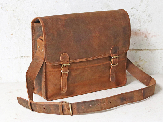 Boys And Girls Large Vintage Leather Satchel 16 Inch