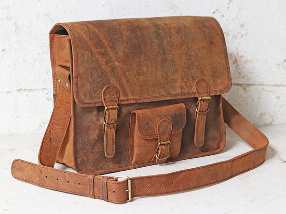 Boys And Girls Leather Satchel School Bag