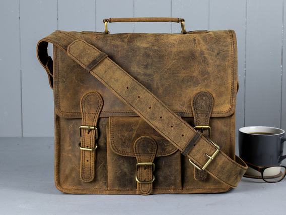 Boys And Girls Small Leather Satchel With Front Pocket And Handle 13 Inch