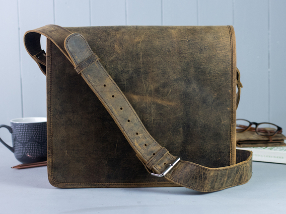 Boys And Girls Small Wide Leather Messenger Bag 13 Inch
