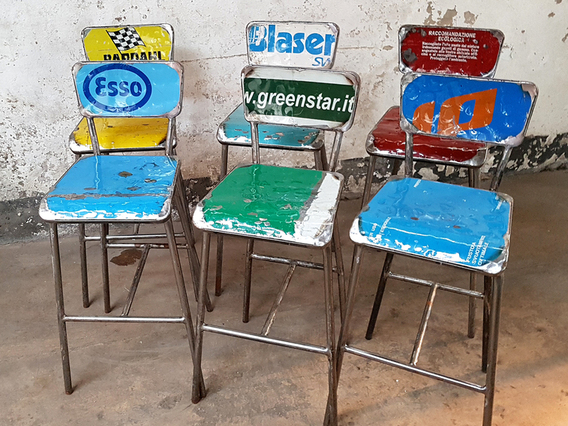 View our  Upcycled Metal Bar Chairs  by Vibrazioni from the   collection