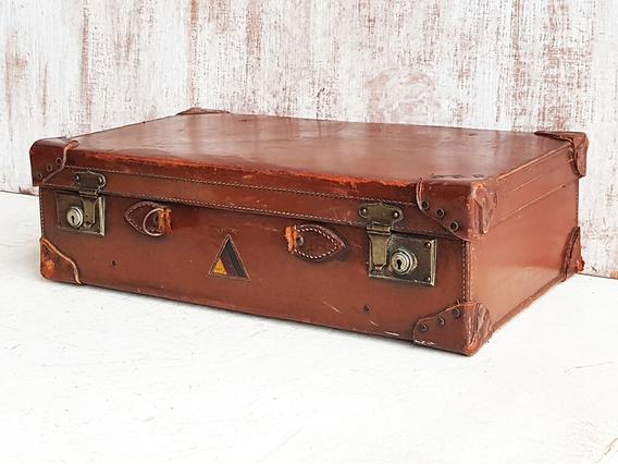 Vintage Leather Suitcase No Handle