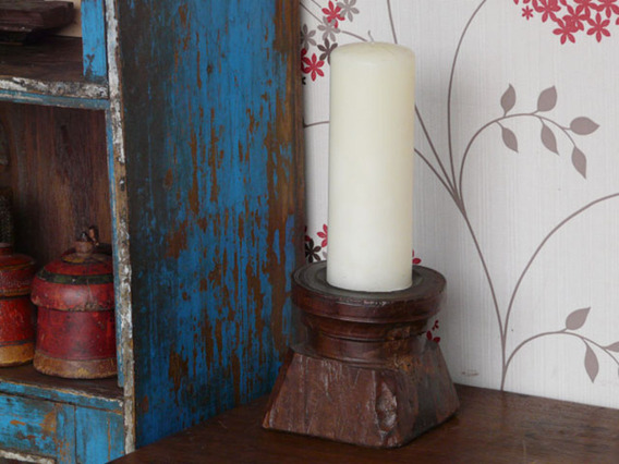Old Wooden Candle Holder 796