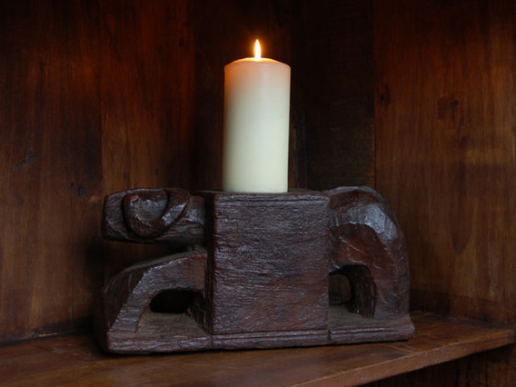 Old Ram Wooden Candle Holder 803